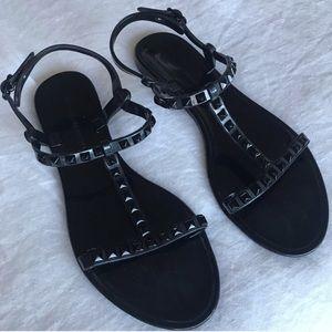 Rebecca Minkoff Black Studded Jelly Sandals